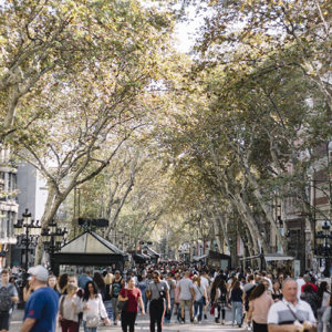 view of la rambla barcelona, the crowd, the trees, the shops